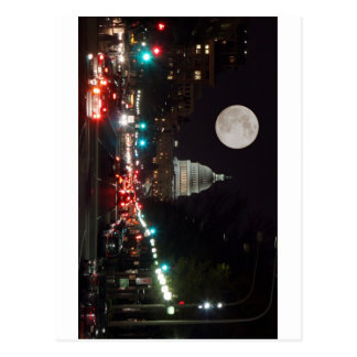 US Capitol Building at night with full moon Postcard