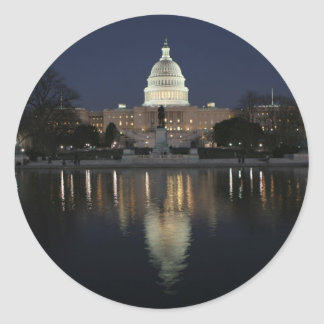 US Capitol Building Night Classic Round Sticker