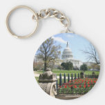 US Capitol building spring Basic Round Button Keychain