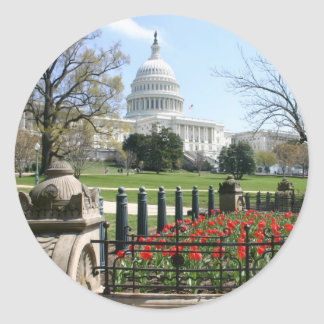 US Capitol building spring Classic Round Sticker