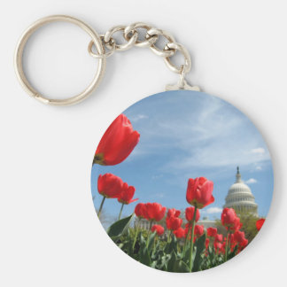 US Capitol Building Spring photo Keychain