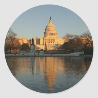 US Capitol Building Sunset Classic Round Sticker