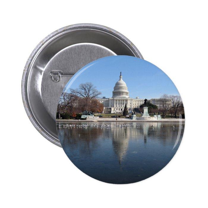 US Capitol building winter  picture Pinback Button
