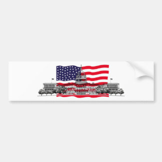 US Capitol Building with American Flag Bumper Sticker