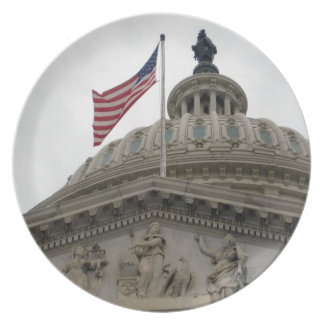 US Capitol Building with American Flag - East Dinner Plate