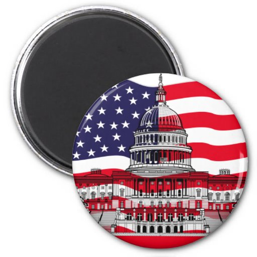 US Capitol Building with American Flag Fridge Magnet