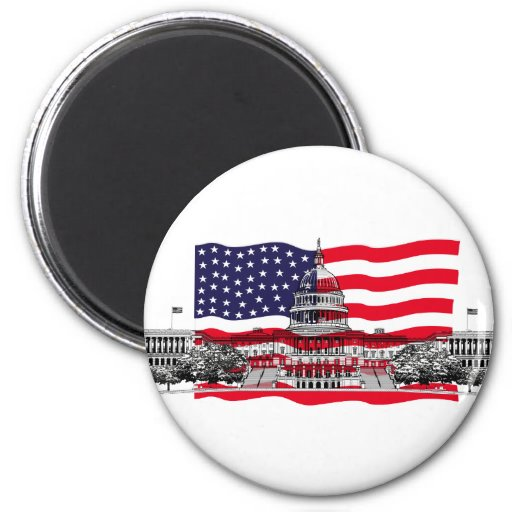 US Capitol Building with American Flag Fridge Magnets
