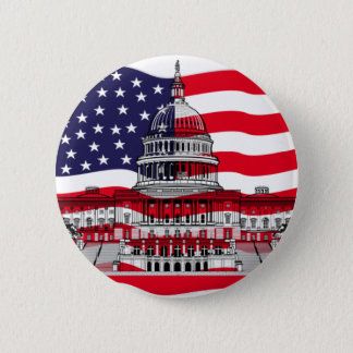 US Capitol Building with American Flag Pinback Button