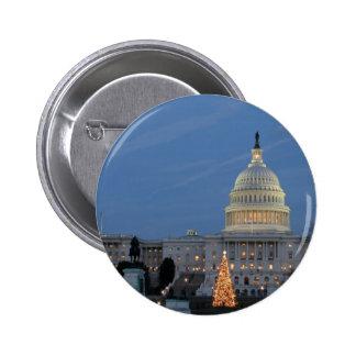 US Capitol celebrating Christmas photo Pinback Buttons