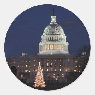 US Capitol celebrating Christmas photo Classic Round Sticker