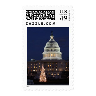 US Capitol celebrating Christmas photo Postage Stamps