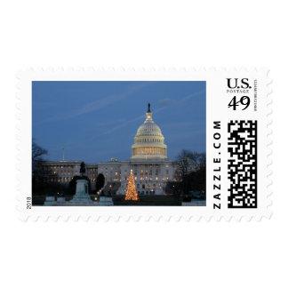 US Capitol celebrating Christmas photo Postage