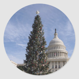 US Capitol Hill christmas tree Classic Round Sticker