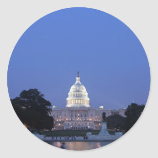 US Capitol night picture Classic Round Sticker