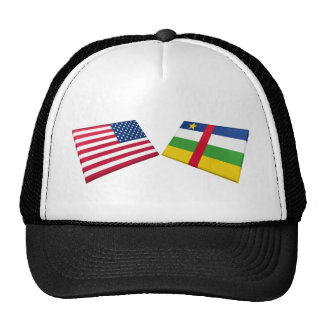 US & Central African Republic Flags Trucker Hats