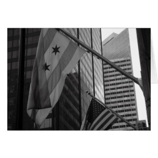 US & Chicago city flag Greeting Card