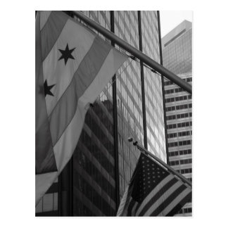 US & Chicago city flag Postcard