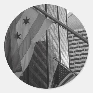US & Chicago city flag Round Stickers