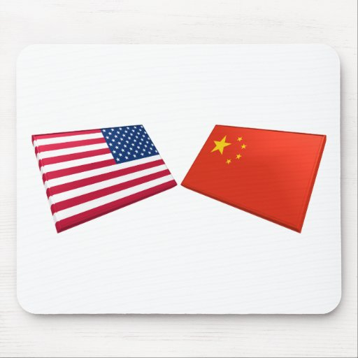 US & China Flags Mouse Pad