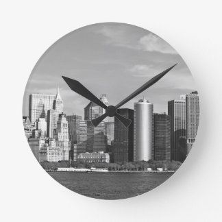 US Cityscape: New York Skyline #2 [Grayscale] Round Wall Clocks