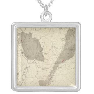 US Coal Fields Square Pendant Necklace