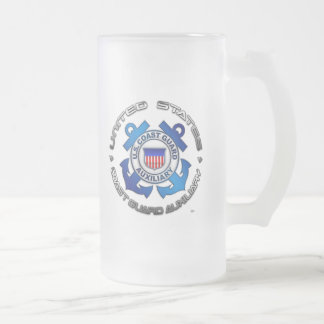 US Coast Guard Auxiliary Frosted Glass Beer Mug