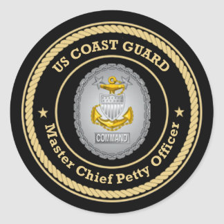 US Coast Guard Command Master Chief Petty Officer Classic Round Sticker