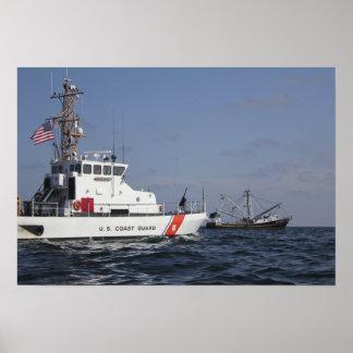 US Coast Guard Cutter Marlin patrols the waters Poster
