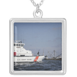 US Coast Guard Cutter Marlin patrols the waters Silver Plated Necklace
