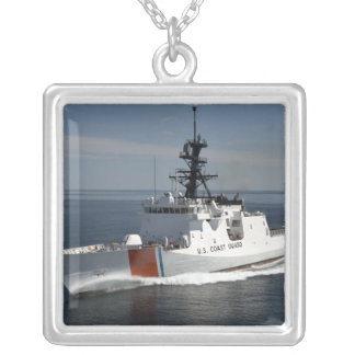 US Coast Guard Cutter Waesche 3 Square Pendant Necklace