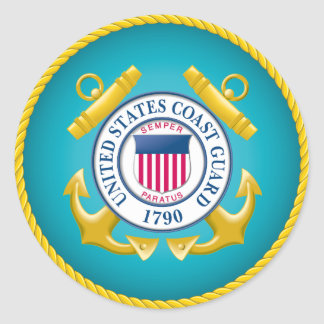 US Coast Guard Emblem Classic Round Sticker