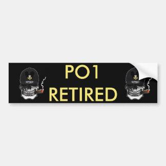 US Coast Guard PO1 Scull Cigar Car Bumper Sticker