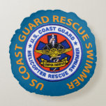 US Coast Guard Rescue Swimmer Round Pillow