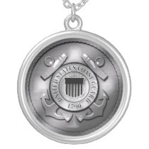 US Coast Guard Silver Plated Necklace