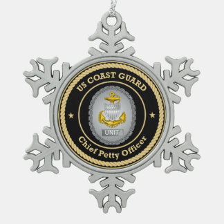 US Coast Guard Unit Chief Petty Officer Snowflake Pewter Christmas Ornament