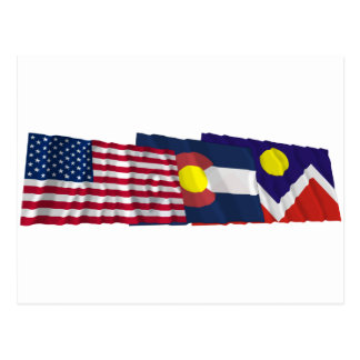 US, Colorado and Denver Flags Postcard