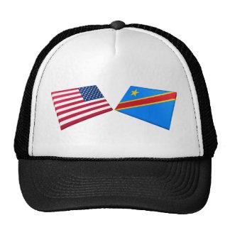 US & Congo Democratic Republic Flags Hats