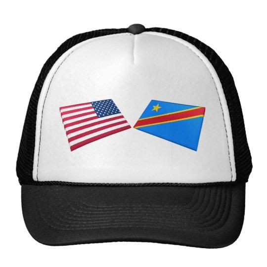 US & Congo Democratic Republic Flags Trucker Hat