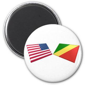 US & Congo Republic Flags Fridge Magnets