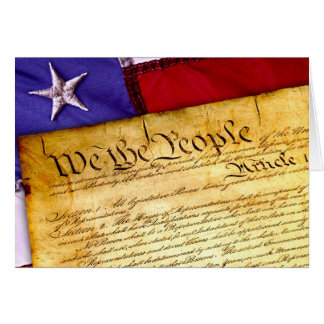 US Constitution and American Flag Card