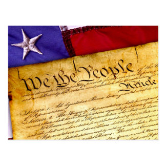 US Constitution and American Flag Postcard