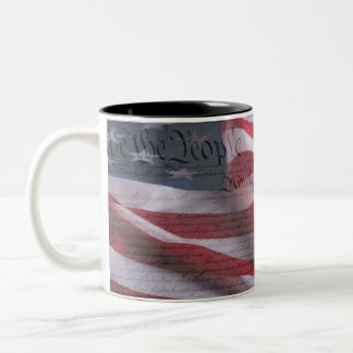 US Constitution and Flag Two-Tone Coffee Mug