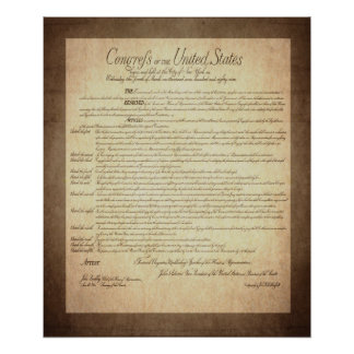 US Constitution Bill of Rights Poster