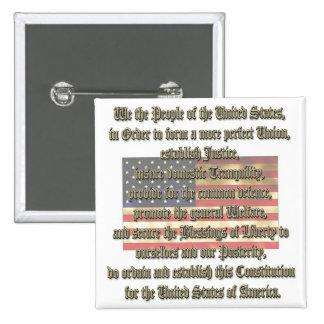 US Constitution 2 Inch Square Button