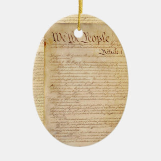 US CONSTITUTION Double-Sided OVAL CERAMIC CHRISTMAS ORNAMENT