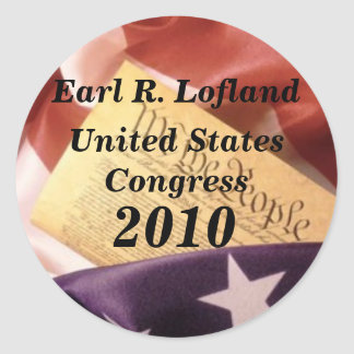 us_constitution_flag, Earl R. Lofland, United S... Classic Round Sticker
