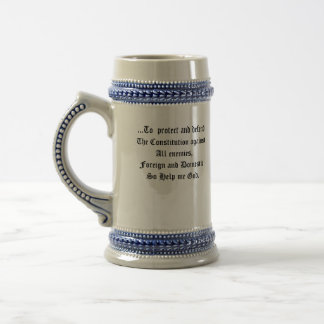 us_constitution_flag, ...To  protect and defend... 18 Oz Beer Stein