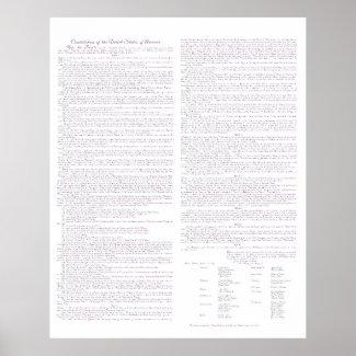 US Constitution Parchment Typescript, Mauve, Poster