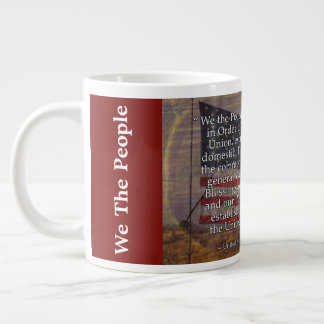 US Constitution Preamble Over Textured Background Large Coffee Mug
