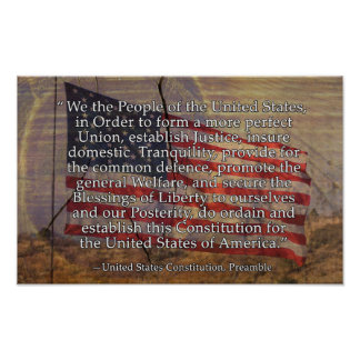 US Constitution Preamble Over Textured Background Poster
